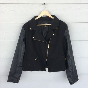 Black jacket with faux leather sleeves